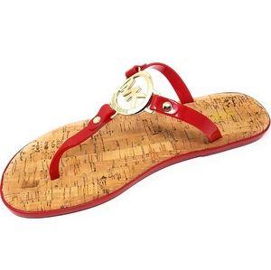 MK Michael kors Red cork jelly charm flip flops 6